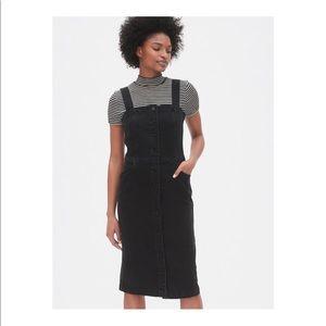 Apron Button-Front Denim Dress